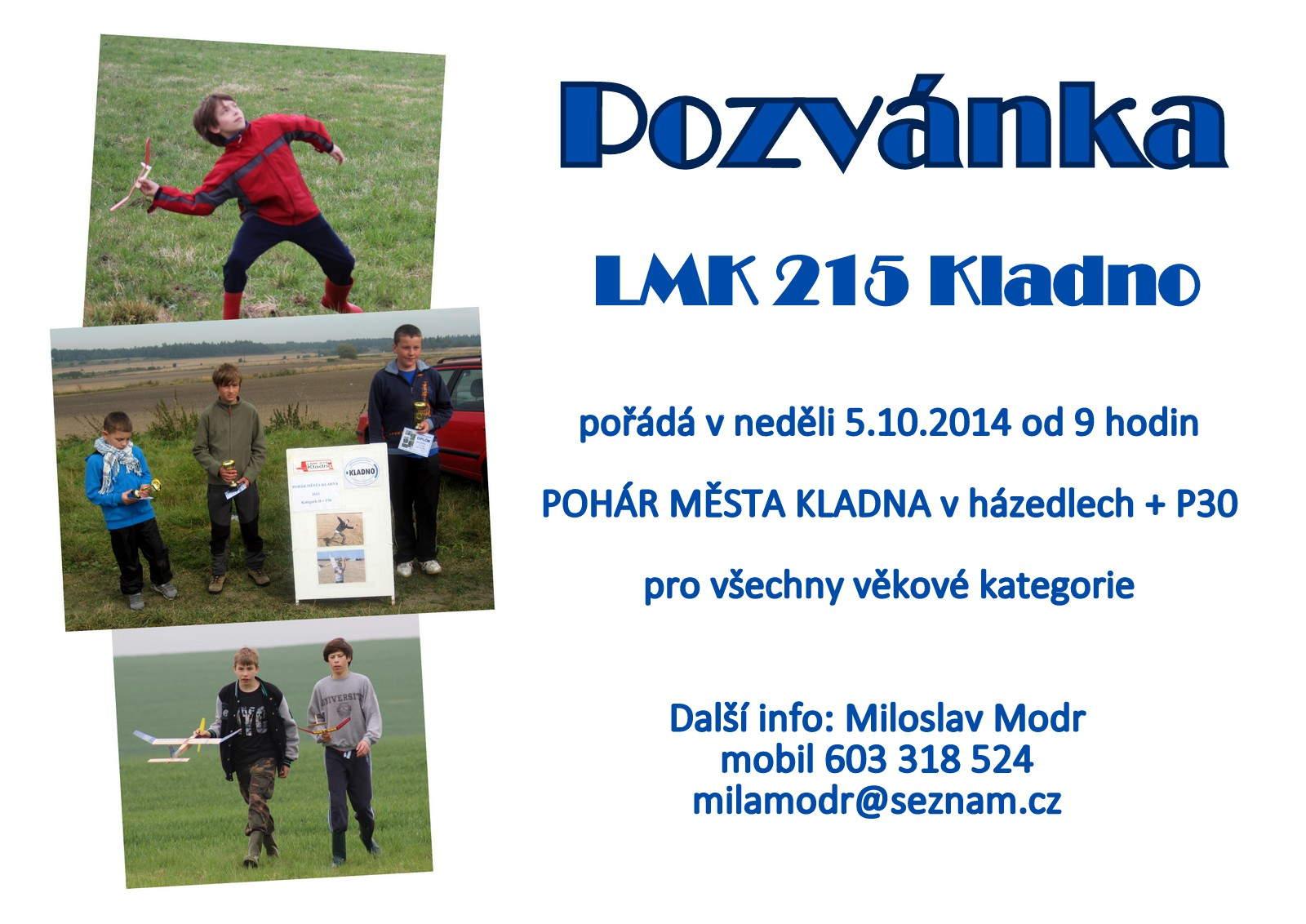 Pozvánka Pohár města Kladna H P30, 2014
