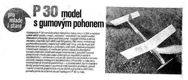 První P 30 model s gumovým pohonem