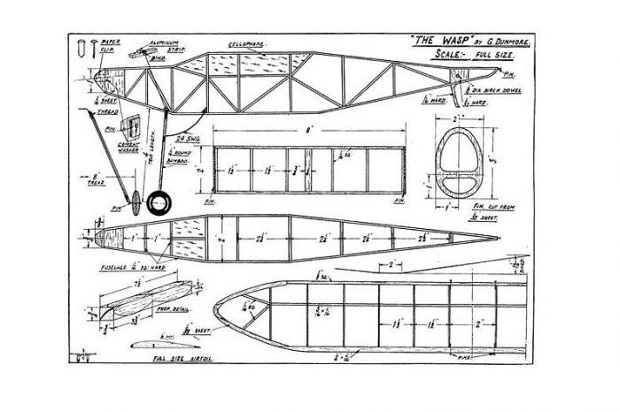 Historický model na gumový pohon WASP